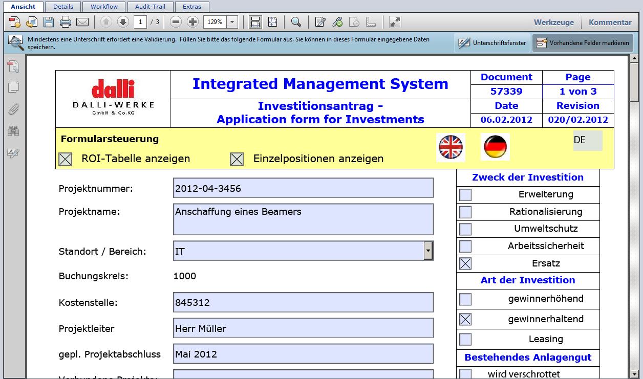 Dynamisches PDF bei der Dokumentenlenkung in roXtra bei dalli