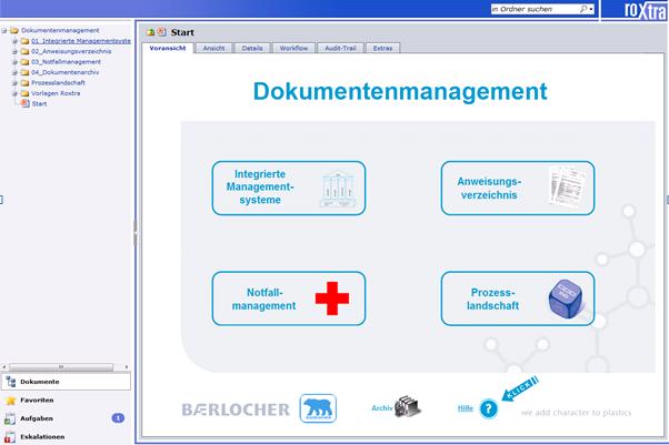 Startseite in roXtra bei der Baerlocher GmbH